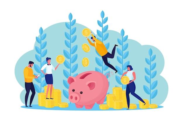 Sparschwein mit geschäftsleuten, bankangestellten