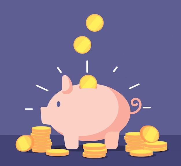 Sparschwein mit goldenen münzen