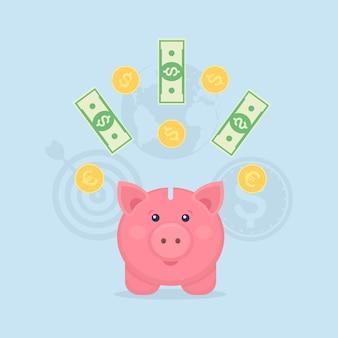 Sparschwein mit goldmünzen und scheinen