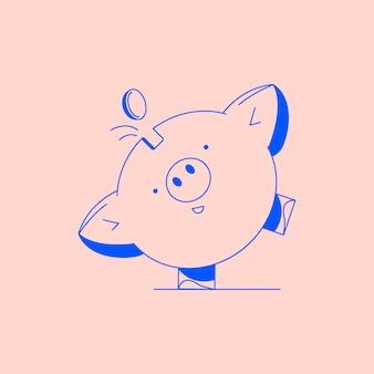 Sparschwein mit münze. icon einsparung oder anhäufung von geld, investitionen