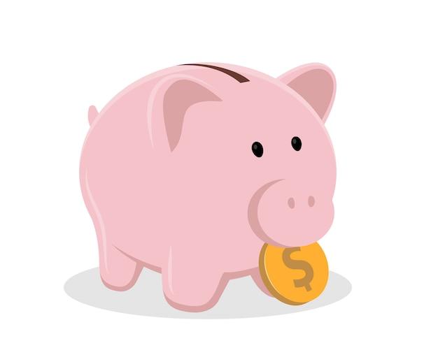 Sparschwein mit münze. klassisches keramikschweinsymbol des sparens geld