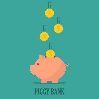 Sparschwein mit münzen in einem flachen design. das konzept, geld zu sparen oder zu sparen oder eine bankeinlage zu eröffnen
