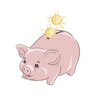 Sparschwein mit münzillustration das konzept der bank- oder geschäftsdienstleistungen