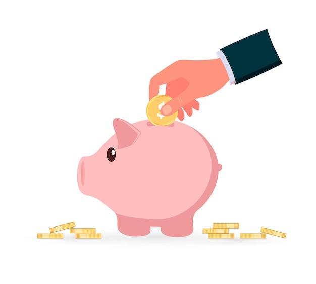 Sparschwein mit münzsymbol. menschliche hand wirft eine goldene münze in das sparschwein. geld sparen. flache vektorillustration.