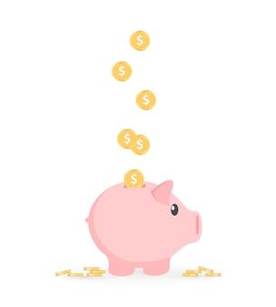 Sparschwein mit münzvektorillustration. das konzept der bank- oder unternehmensdienstleistungen.