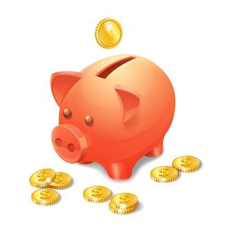 Sparschwein mit realistischen goldenen münzen