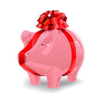 Sparschwein mit rotem band