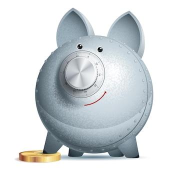 Sparschwein mit schloss. eps10. verwendete transparenz