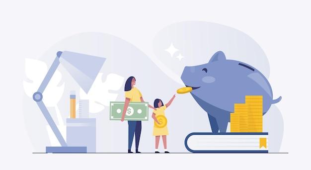 Sparschwein-mutter-tochter-geld-spar-münzenfinanzierung.