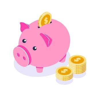 Sparschwein. rosa sparbüchse und münzenstapel