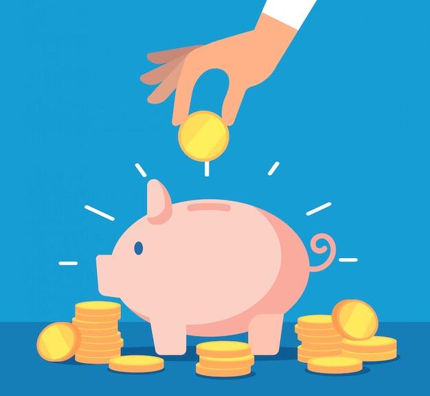 Sparschwein. sparbüchse mit fallenden goldmünzen