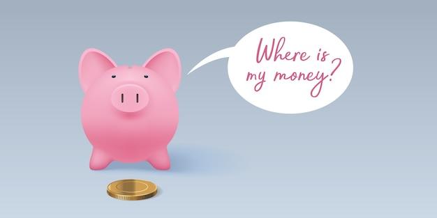 Sparschwein sparbüchse mit realistischer goldener münzillustration