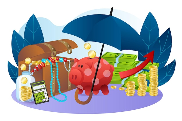 Sparschwein-stand in der nähe von cash-dollar-stapel-schatzkiste mit goldschmuck erhöht den wohlstand flach vektor...
