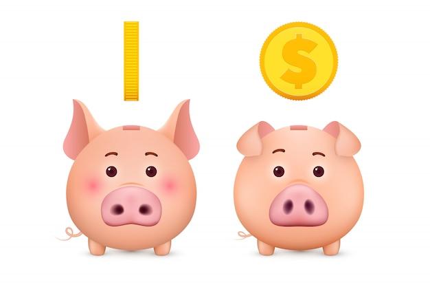 Sparschwein und goldmünze. 3d sparbüchse.