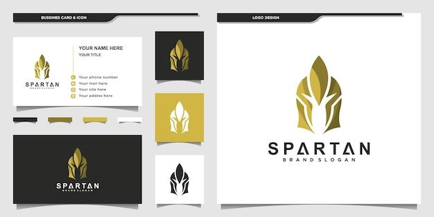 Sparta-logo mit einzigartigem goldenem farbkonzept und visitenkarte premium-vektor
