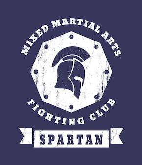 Spartan, mma fighting club grunge-emblem mit spartanischem helm