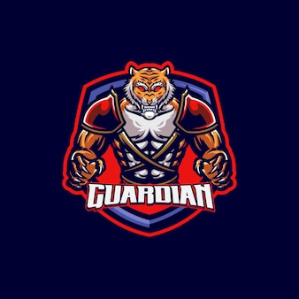 Spartan tiger maskottchen logo vorlage