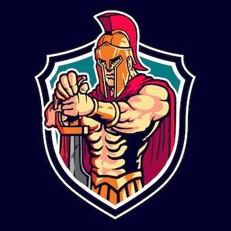 Spartan warrior mascot logo