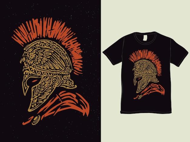 Spartaner helm im vintage-stil t-shirt-design