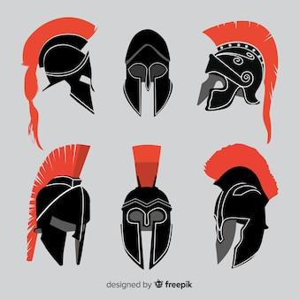 Spartanische helmsammlung des schattenbildes