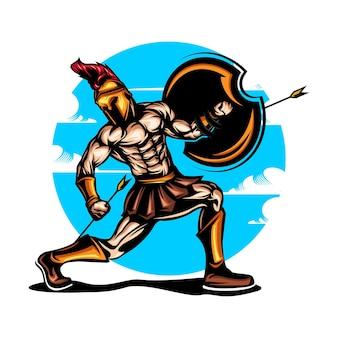 Spartanische illustration mit volltonfarbe