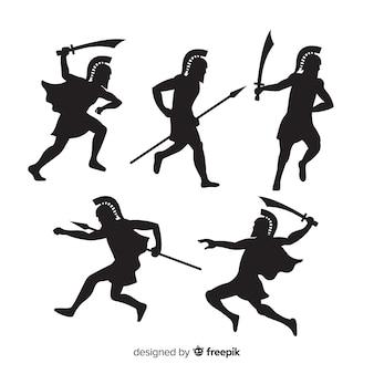 Spartanische kriegerschattenbildsammlung