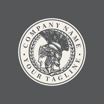 Spartanischer alter logoschablonenvektor