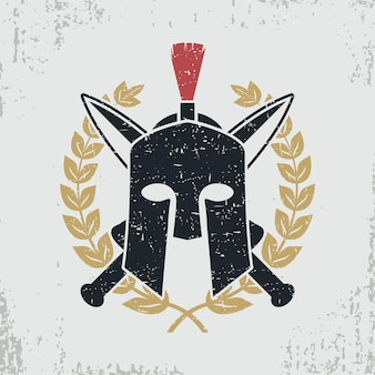 Spartanischer helm, gekreuzte schwerter, lorbeerkranz - grafikdesign für kleidung, t-shirt, kleidung, logo. vektor-illustration.