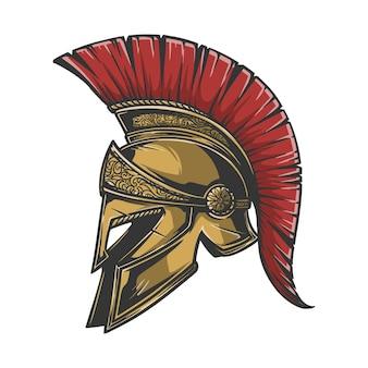 Spartanischer helm in leicht zu ändernder farbe, text und anderen elementen