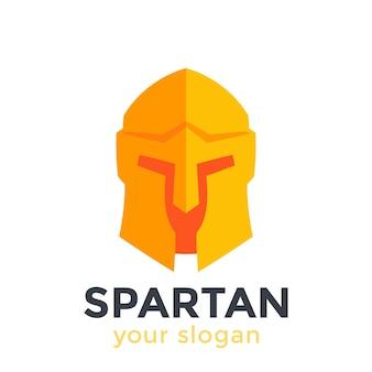 Spartanischer helm, logo im flachen stil
