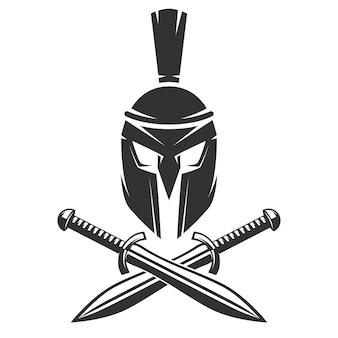 Spartanischer helm mit gekreuzten schwertern