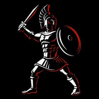 Spartanischer krieger. illustration des gladiators auf dunklem hintergrund.