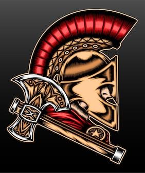 Spartanischer krieger isoliert auf schwarz