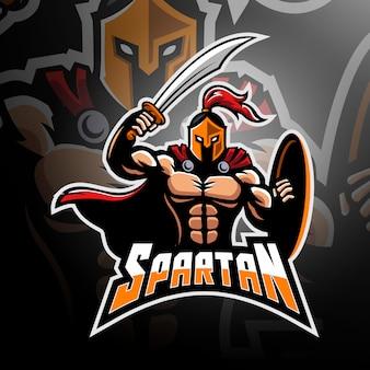Spartanischer krieger mit schwert und schild