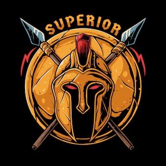 Spartanischer kriegerhelm mit speer- und schildillustration