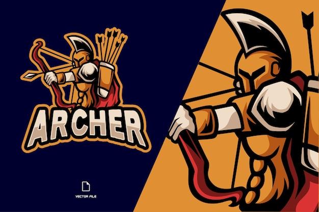 Spartanisches bogenschützen-maskottchen-logo für das spielteam