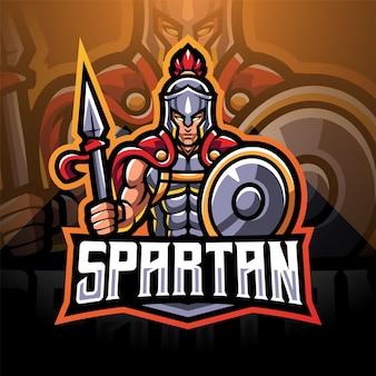 Spartanisches esport-maskottchen-logo-design