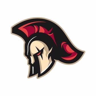 Spartanisches helm-maskottchen