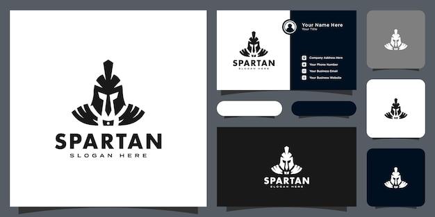 Spartanisches helmlogo-vektordesign und visitenkarte