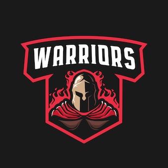 Spartanisches krieger-maskottchen-logo