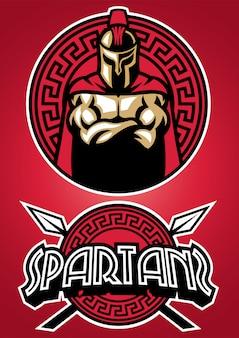 Spartanisches krieger-maskottchen-set