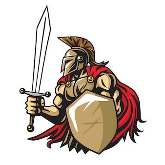 Spartanisches krieger-vektor-maskottchen