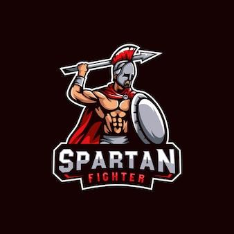 Spartanisches kriegerlogo, spartanische kämpferlogoschablone für e-sportspiel oder team