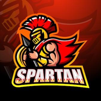 Spartanisches kriegermaskottchenillustration