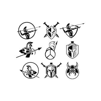 Spartanisches logo - gladiator inspiration logo vektor vorlage