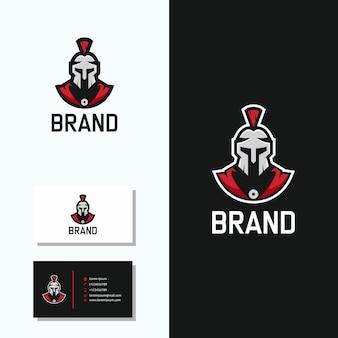 Spartanisches logo mit visitenkarten-logo-design