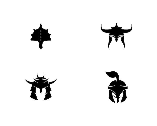 Spartanisches logo und vektordesignsturzhelm und -kopf