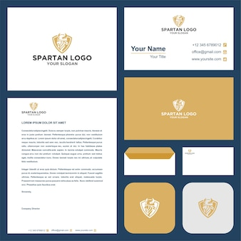 Spartanisches logo und visitenkarte