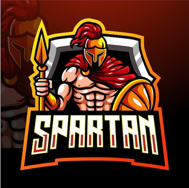 Spartanisches maskottchen. esport logo design