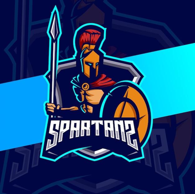 Spartanisches maskottchen esport logo design